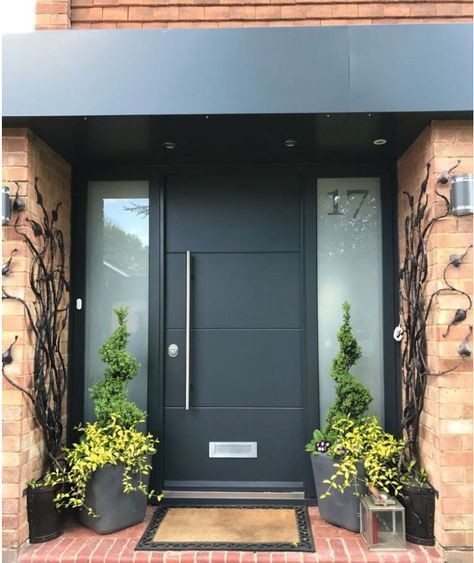 Anthracite grey RAL7016 modern front door with 2 obscure glazing side panels. #rusticporchideas