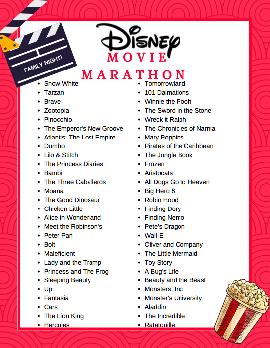 Free Printable Disney Movie Marathon List | Disney ...