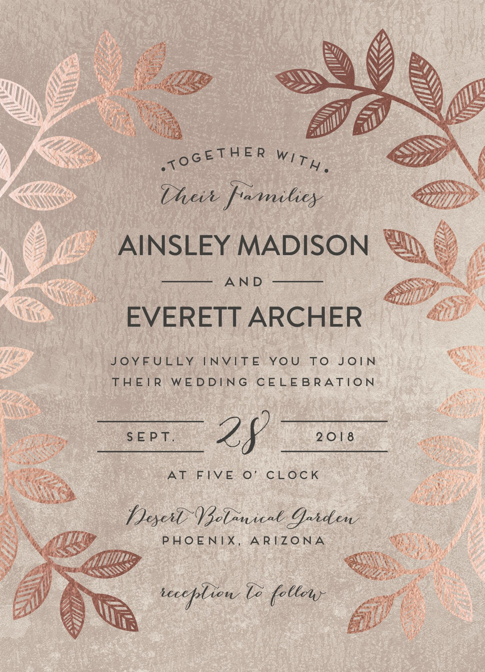 white and gold wedding invitations%0A Folk inspired wedding invitation design with real rose gold foil detail  By  Minted artist