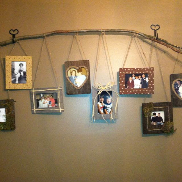 i made this wall hanging using a stick and two wrought on wall hanger id=86075
