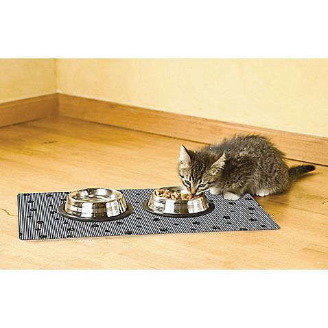 Drymate Cat Bowl 12 Inch X 20 Inch Place Mat With Black Paw Print With Images Cat Bowls Buy A Cat Cat Feeding