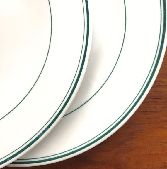 Two Diner Plates Vintage Double Green Stripe By Putnamandspeedwell Classic Restaurant Restaurant Dishes Diner