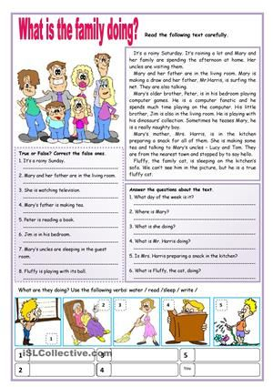 Image Result For Reading Comprehension About Family Facial