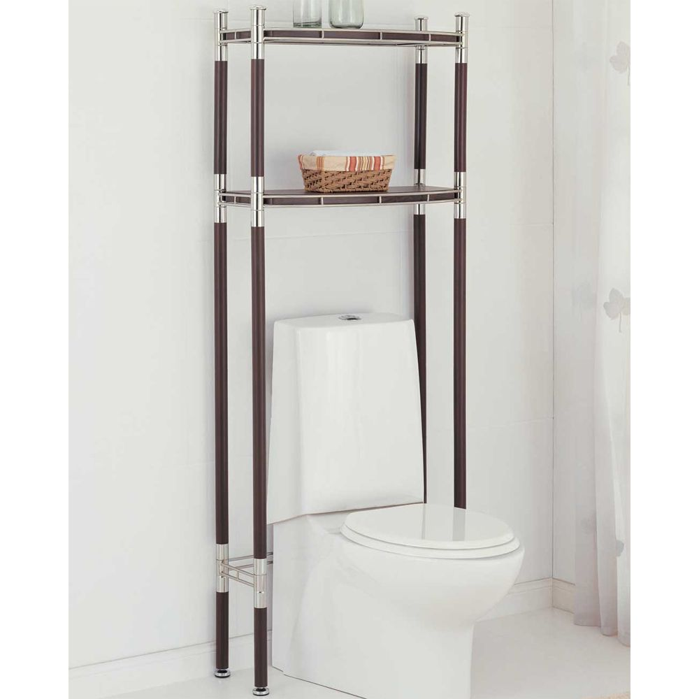 bathroom-iron-shelf-over-white-toilet-placed-on-white-ceramic-tiled ...