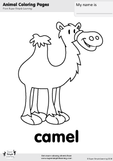 Free Camel Coloring Page From Super Simple Learning Tons Of Animal Worksheets And Flashcards