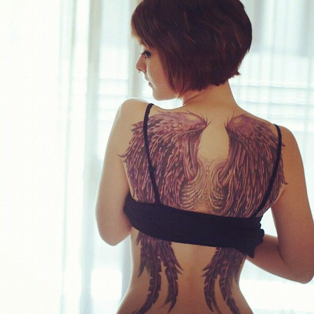 Tattoo angel wings on back fully naked fucking the