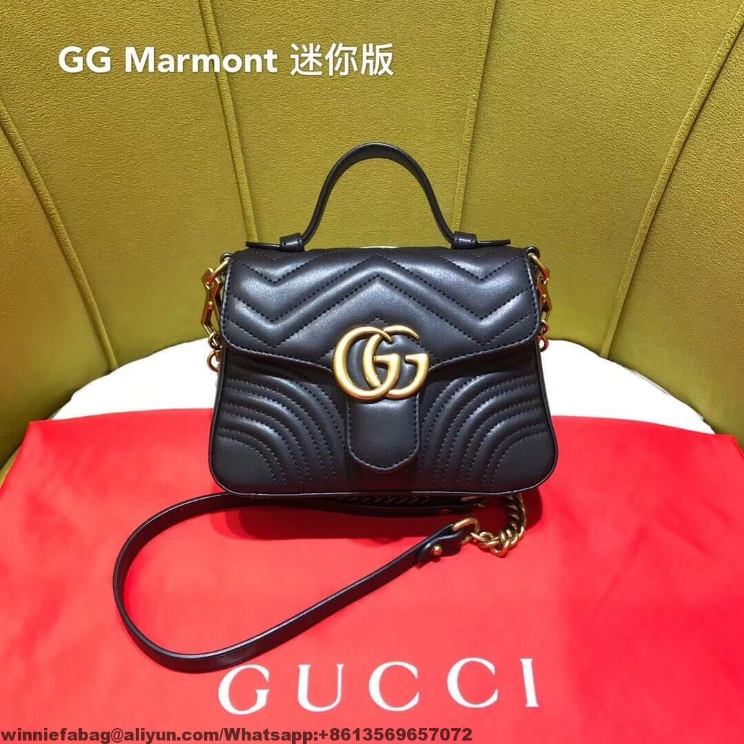 7abb5d2a876 Gucci GG Marmont Leather Mini Top Handle Bag 2018