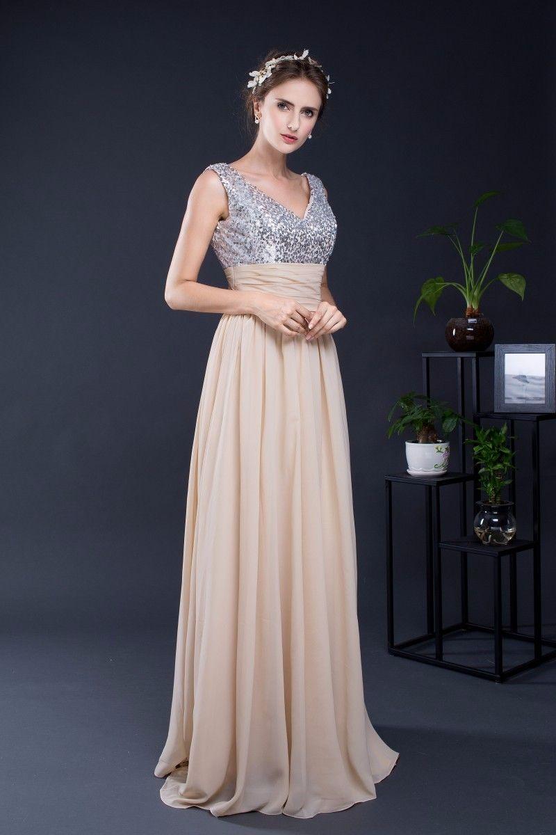Long v neck aline chiffon bridesmaid dress pinterest chiffon