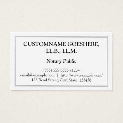 Traditional Notary Public Business Card - notary template