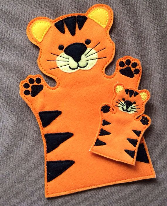 tiger puppet template - tiger jungle animal hand puppet adult or kid door