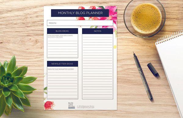 Monthly Blog Planner Printable - Floral   Blog Love Studio