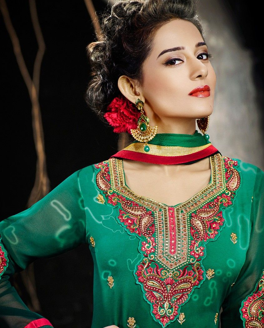 Sea green suit with paisley embellished neckline   1. Sea green poly georgette embroidered suit2. Resham embroidery on neckline and sleeves with golden embellished border3. Comes with matching santoon bottom and chiffon dupatta4. Can be stitched upto size 42 inches