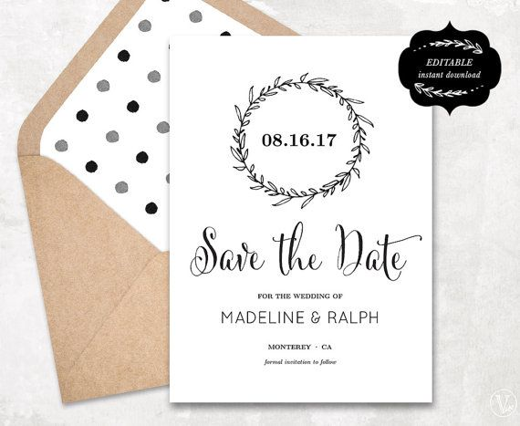 Printable Save the Date Card Template Kraft Paper by ...