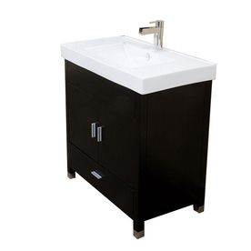 Bellaterra Home Black Single Sink Vanity With White Vitreous China