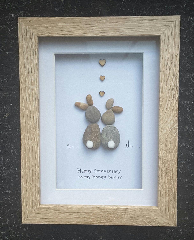 Anniversary gift pebble art picture bunny present for Pebble art ideas