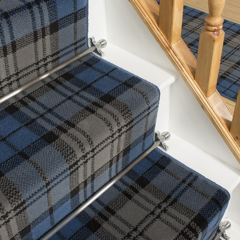 Best Tartan Blue Stair Runner Carpet Stairs Carpet Runner 400 x 300