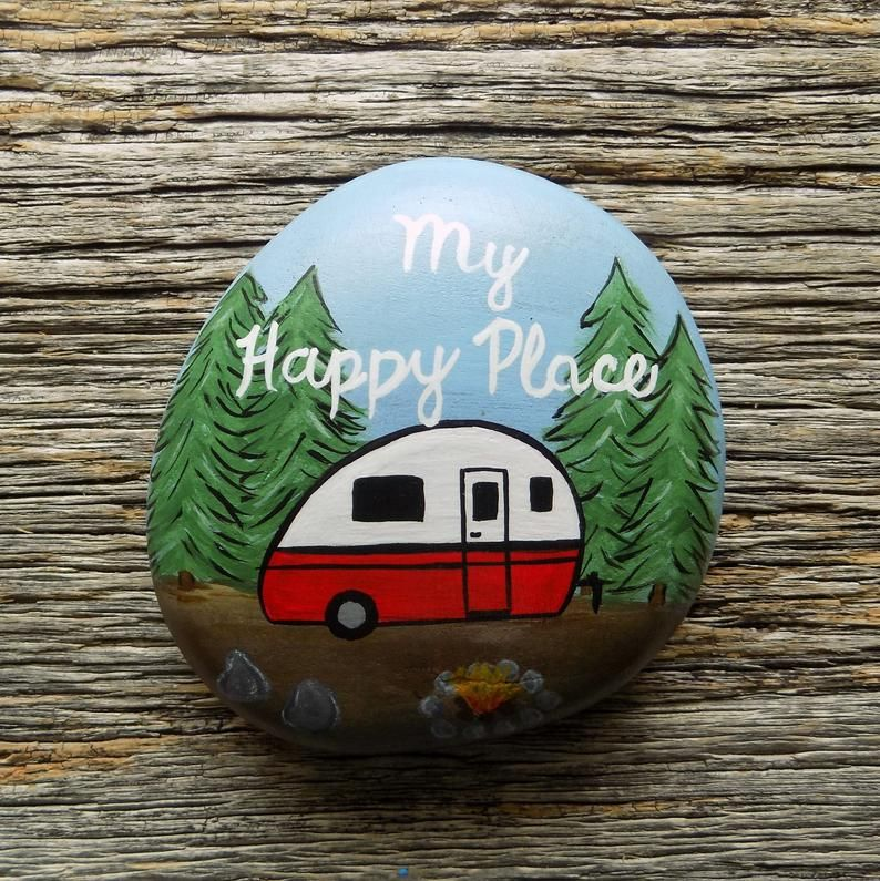 Red Vintage Camper Painted Rockdecorative Accent Stone Etsy In
