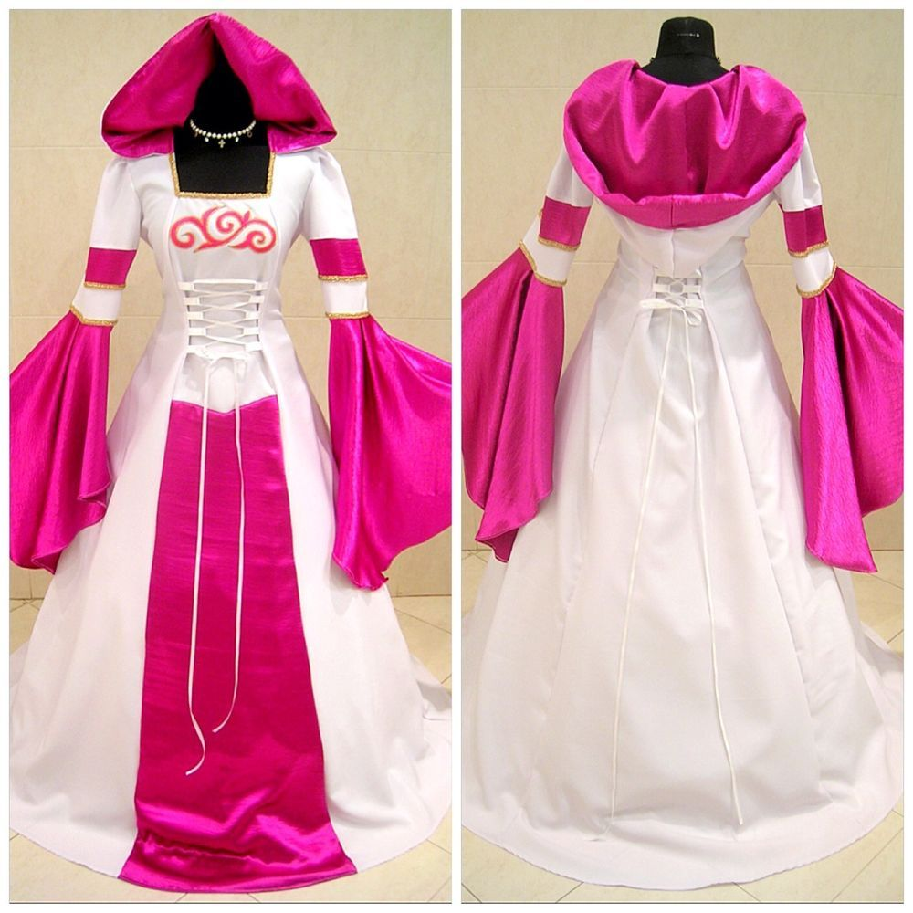 Pink medieval dress gothic 10-12-14 s-m x-mas narnia carnival ...