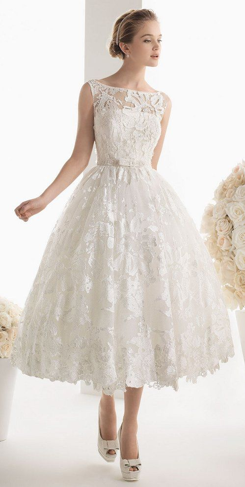 Lace tea length bridal gown