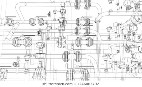Sketch of industrial equipment. Wire-frame style. 3d