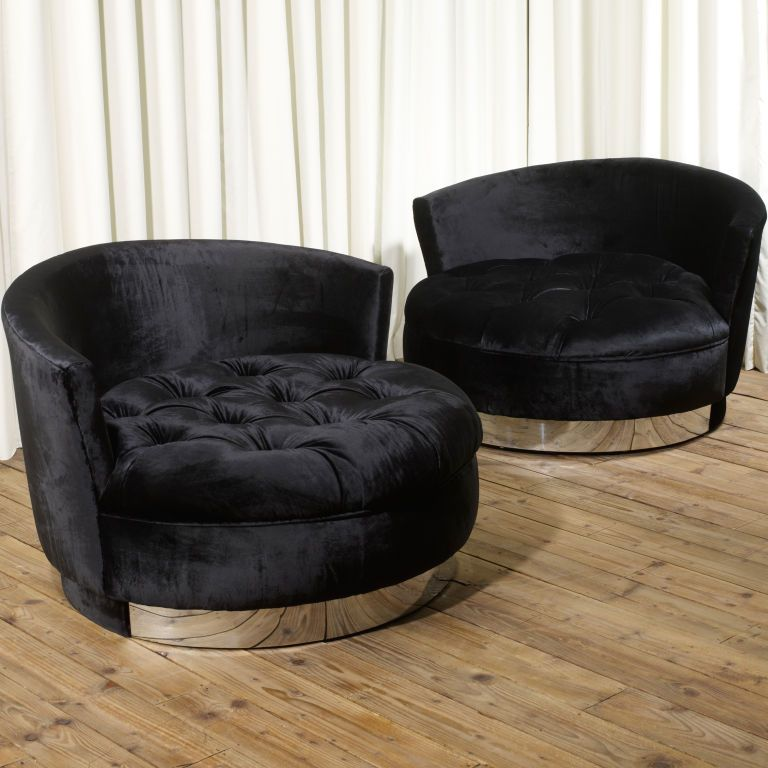 Groovy Pair Of Huge Round Loveseats With Chrome Base In 2019 Machost Co Dining Chair Design Ideas Machostcouk