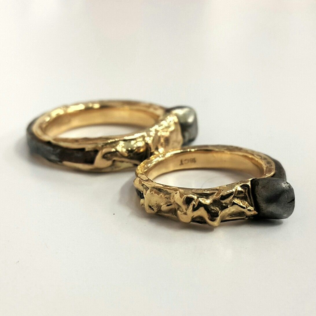 Stunning His And Hers Wedding Bands Forged Antique Japanese Iron Nails With 18ct Gold By Ellyard: Wedding Ring Forged Iron At Reisefeber.org