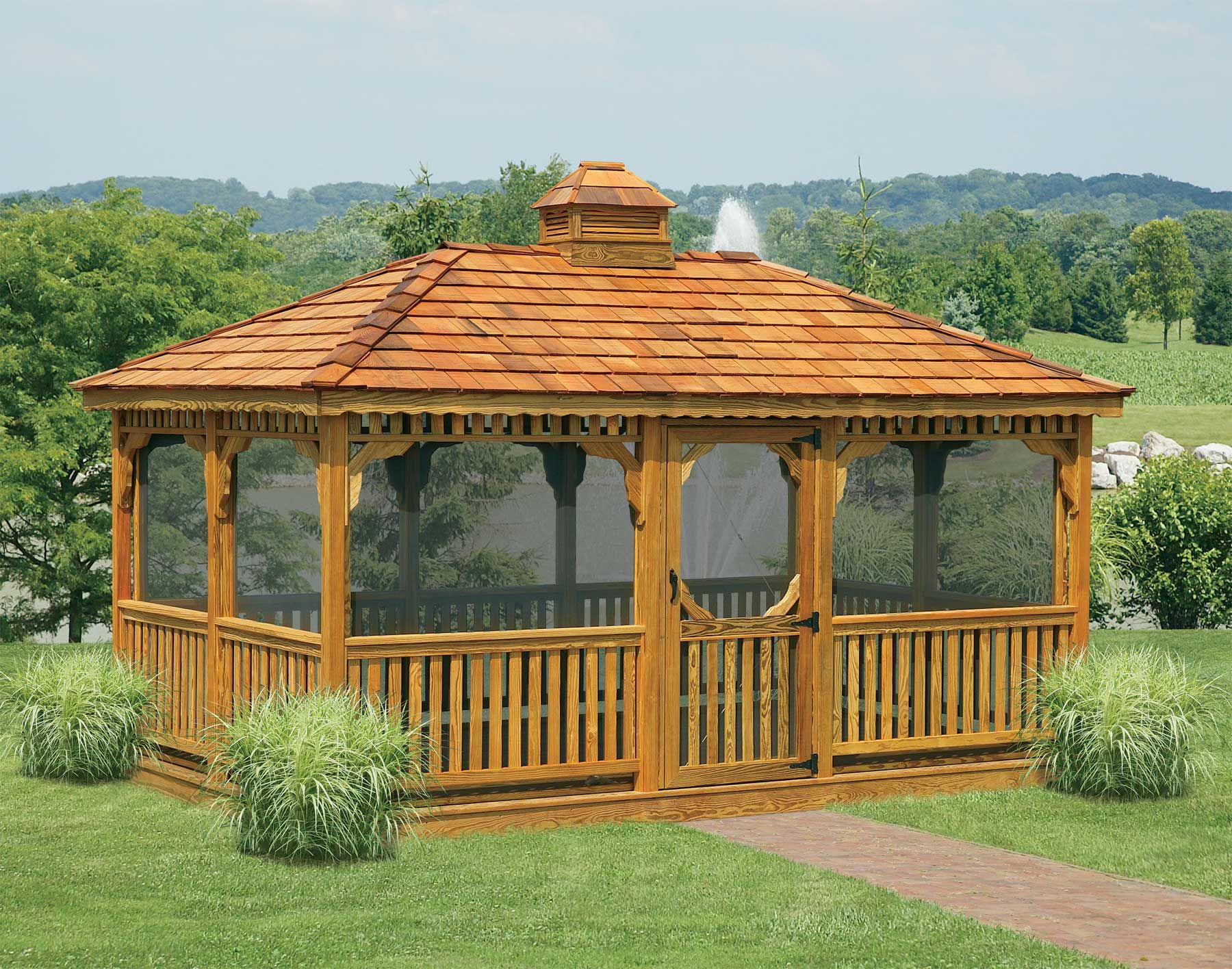 In vogue single roof rectangle enclosed gazebo with wooden fencing as decorate outdoor gardening - Gardens central gazebos designs placement ideas ...