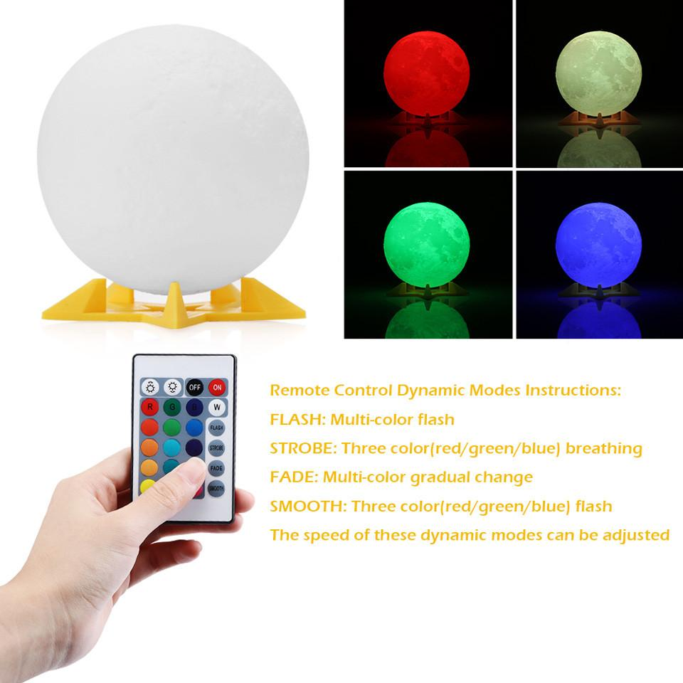 3d Full Moon Light Night Simple Personality Lunar Desk Lamp Rechargeable Christmas Decorations Moon Print Desk Lamp