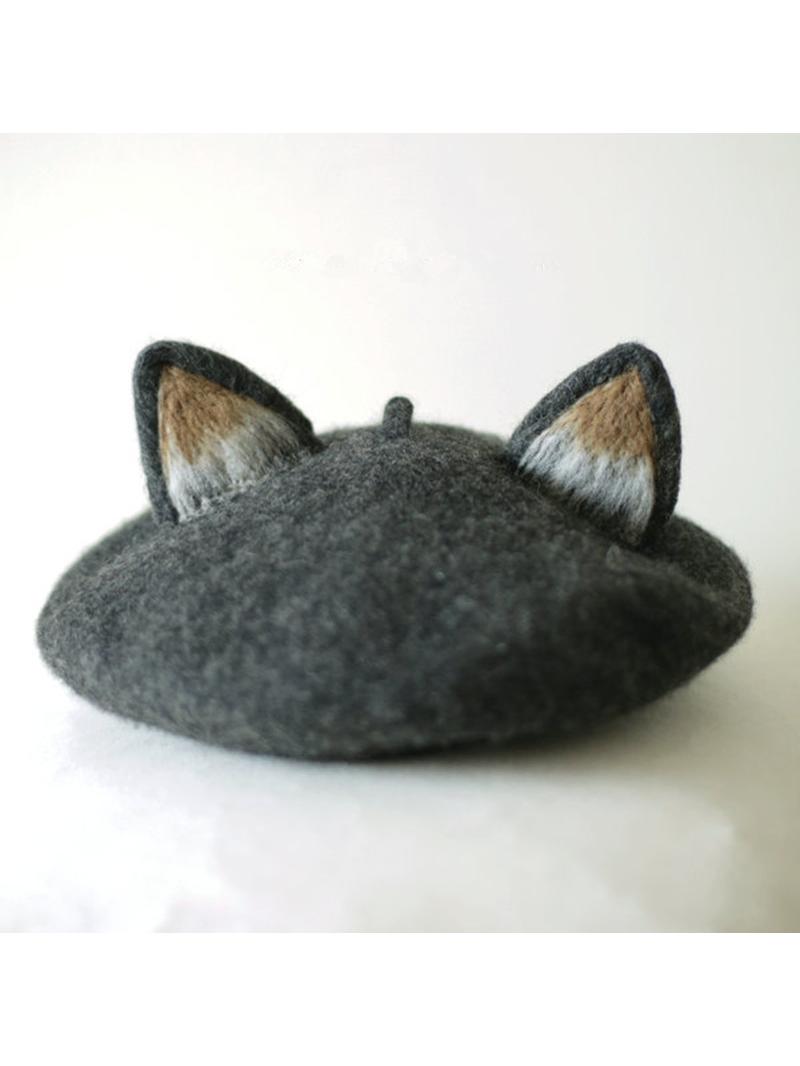 Gray Cat Ears Beret Hat  a466a1d39932