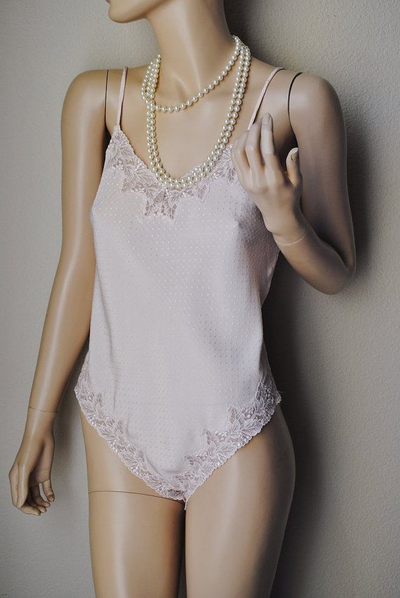 Vintage Dotted Light Pink Teddy  Small by LingerieAddicts on Etsy, $17.50