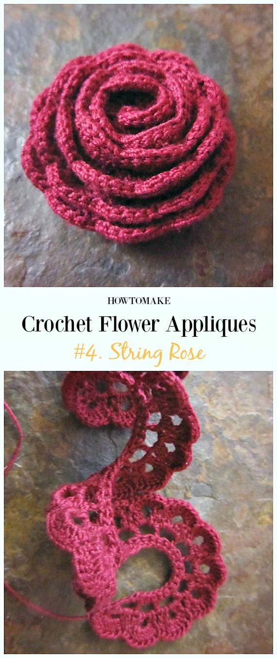 Easy Crochet Flower Appliques Free Patterns For Beginners Yarn For