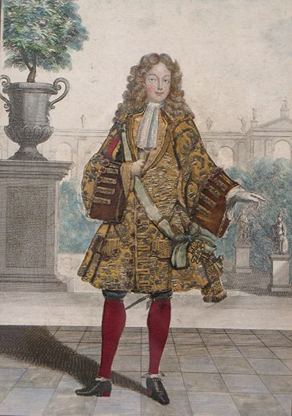 A silk, gold and silver thread embroidered engraving depicting Charles de France, duc de Berry (1686-1712), son of Louis de France, le Grand Dauphin, late 17th century, signed Chez H Bonnart
