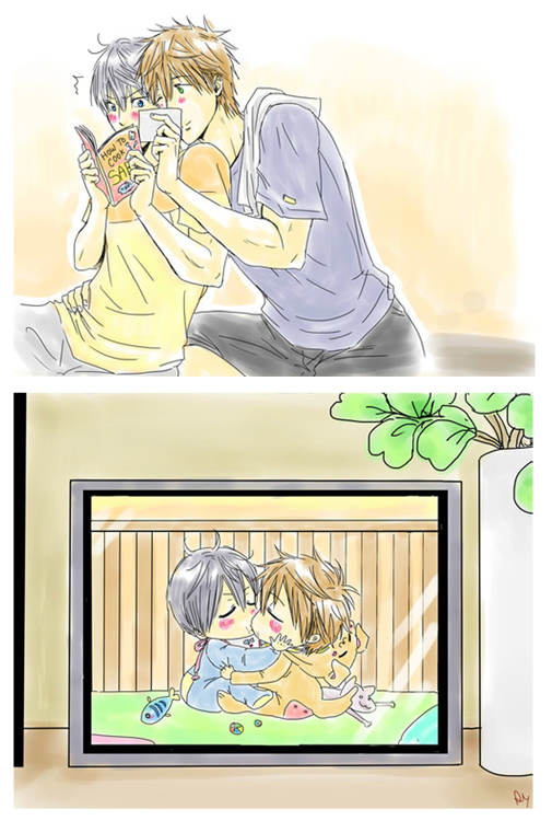 First kiss (Makoto framed the re-found picture later) ...  Drawn by racyue ... Free! - Iwatobi Swim Club, haruka nanase, haru nanase, haru, free!, iwatobi, makoto tachibana, makoto, tachibana, nanase