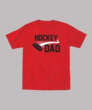 KidTeeZ Red 'Hockey Dad' Puck Tee - Men by KidTeeZ #zulily #zulilyfinds