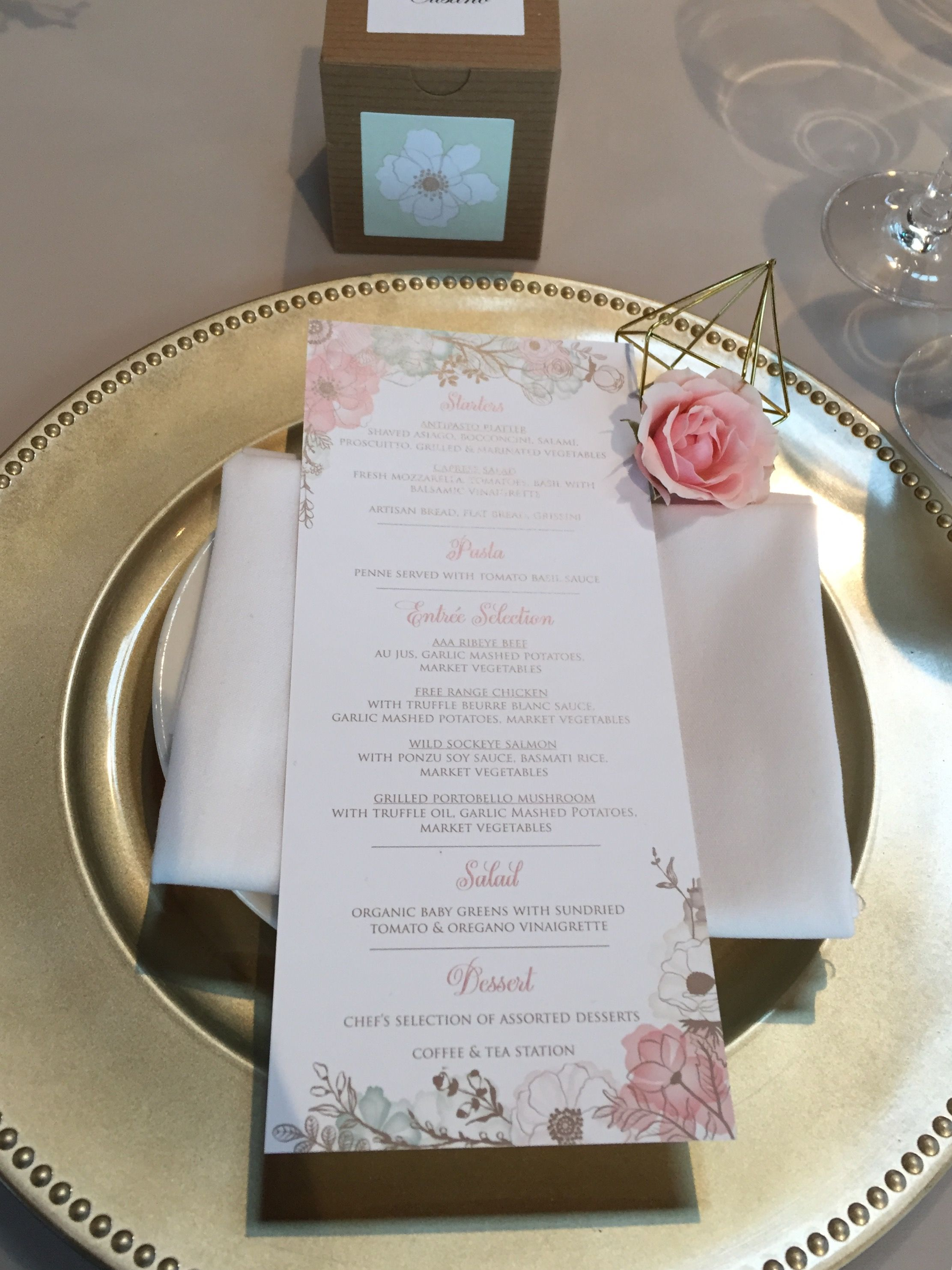 April 2017 real wedding in Vancouver, BC. Head table place setting ...