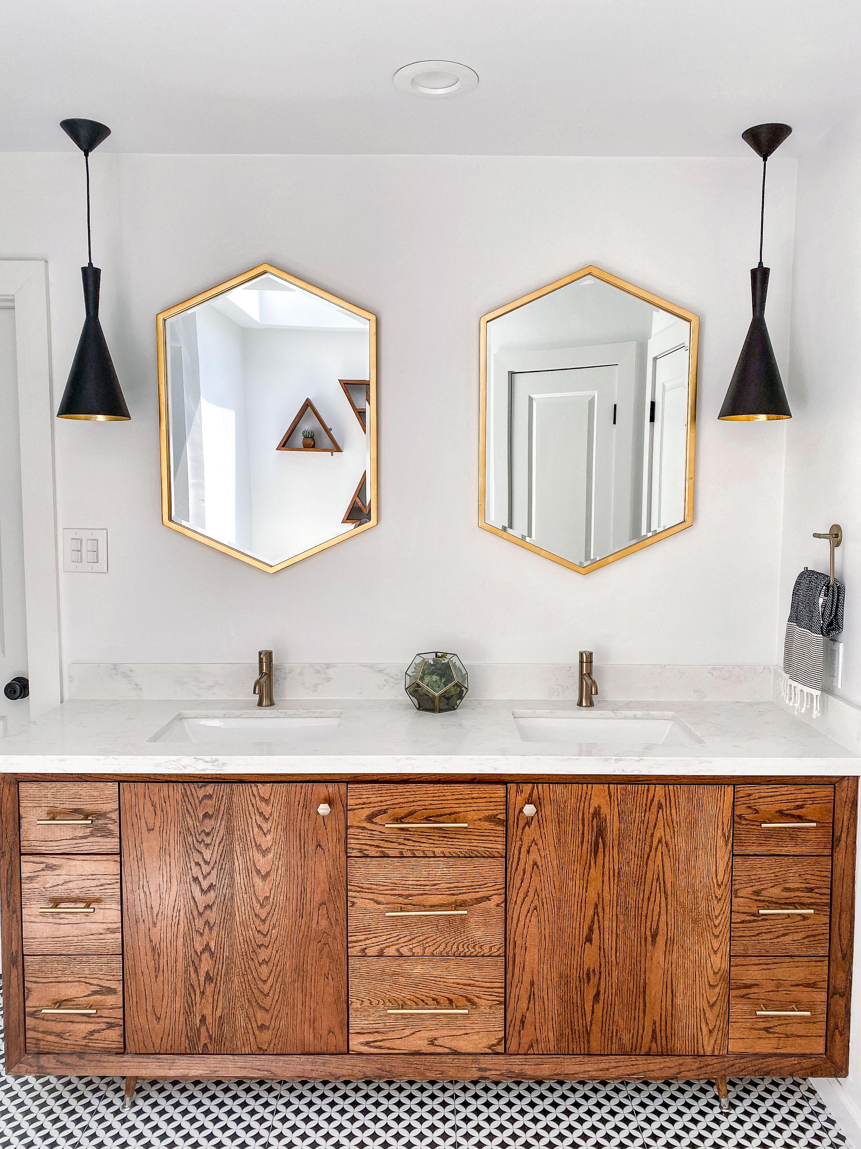 Mid Mod Vanity Remodeled 80s Bathroom Mid Century Modern Bathroom Modern Bathroom Mirrors Modern Bathroom Decor [ 4032 x 3024 Pixel ]