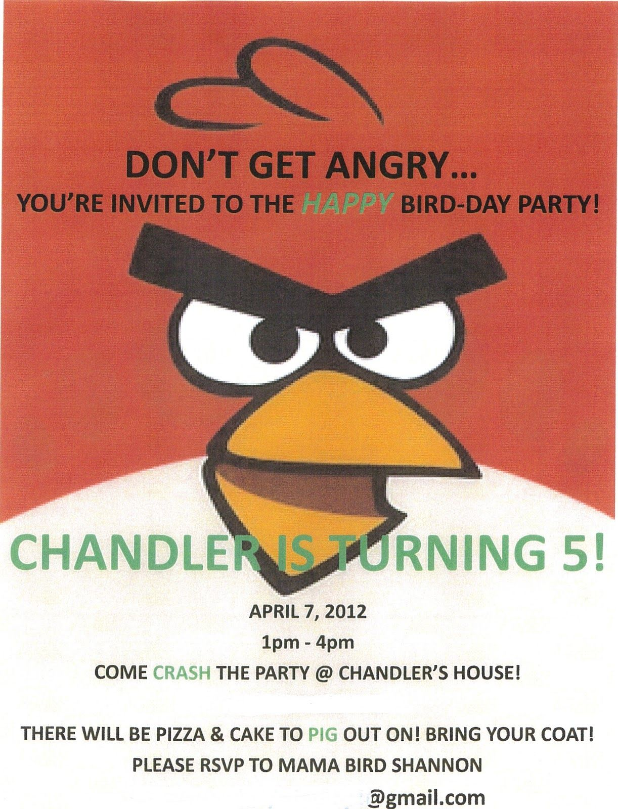 Angry Bird Card Invitation
