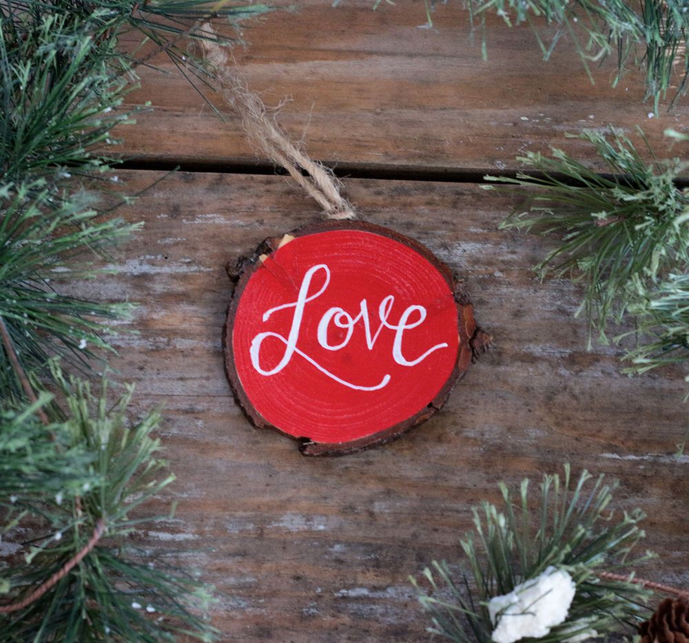 Personalized ornament love red white hand painted rustic wood slice