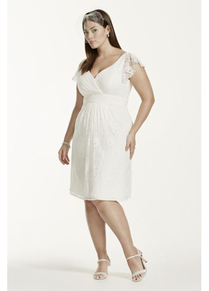 Cap Sleeve Short Lace Dress With Embellished Waist Davids Bridal