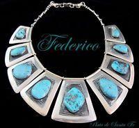 "FEDERICO~""Patania""Style~Trapezoid Shape~Turquoise~925~BOLD~Statement Necklace"