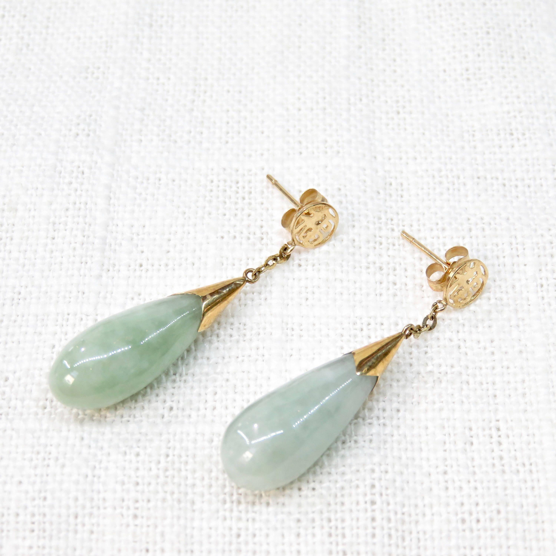 Body piercing earrings  Vintage Earrings in k Gold and Jade Pierced Earrings s