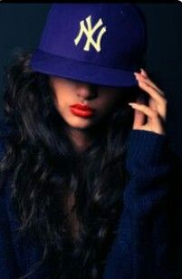 The Red Lips Makes Tht Ny Yankees Hat Pop Love Pretty Girl