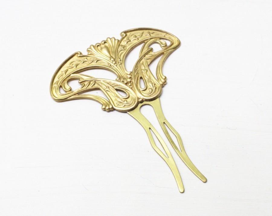 Hochzeit - Art nouveau hair comb bridal fork brass floral vintage 1920's style elegant golden wedding hair