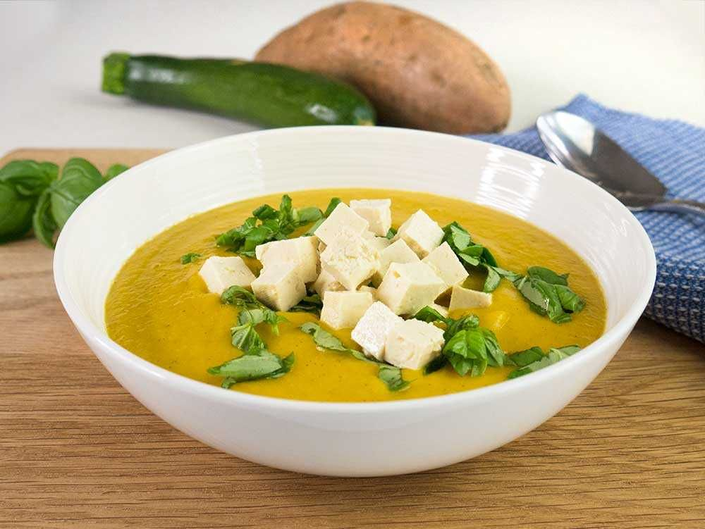 Sweet Potato And Courgette Soup With Ginger And Basil