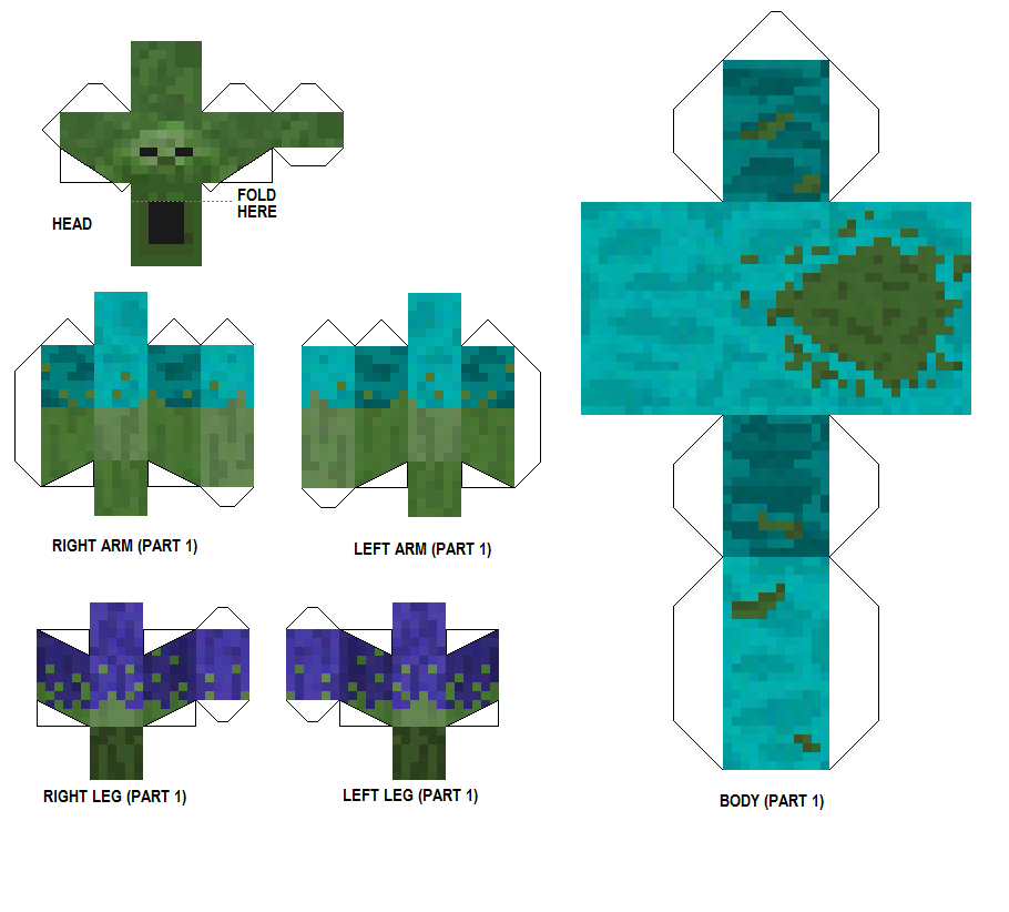 Papercraft Mutant Zombie Resized And Clearer Papercraft Minecraft Skin Minecraft Crafts Minecraft Printables