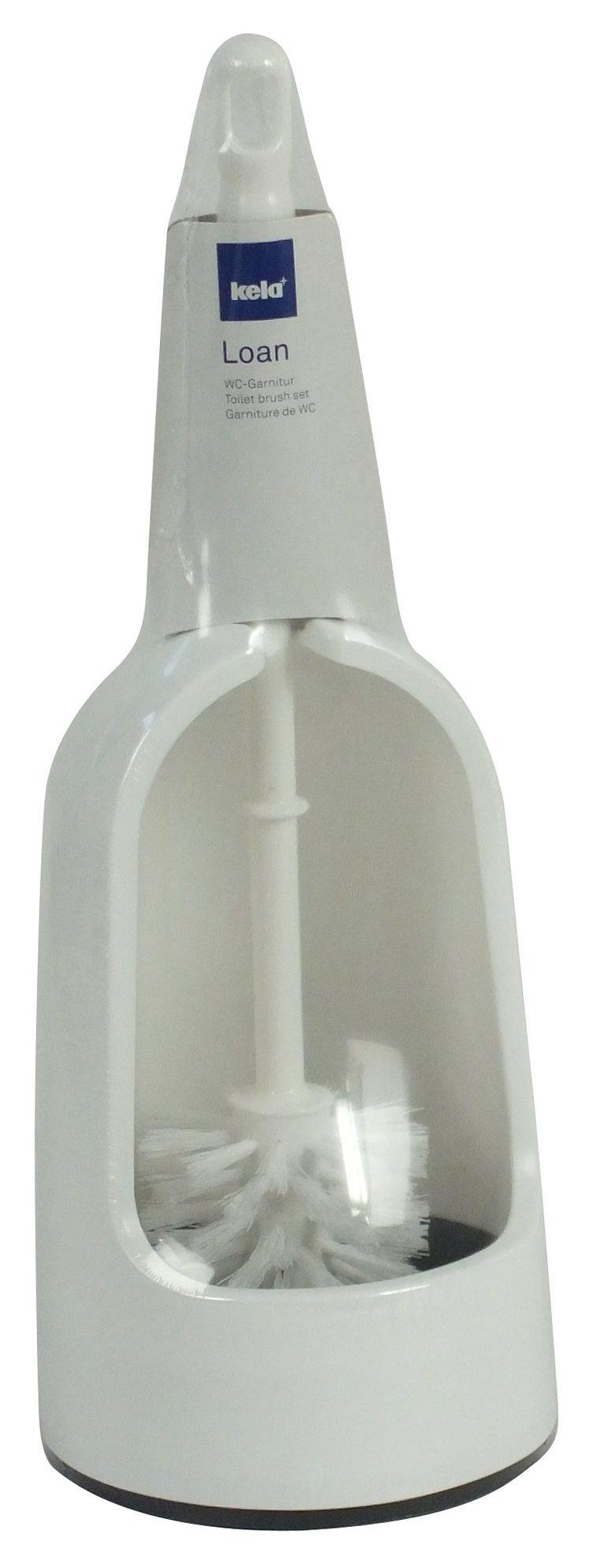 KELA 26011 TOILET BRUSH HOLDER SET, WHITE PLASTIC, LOAN '