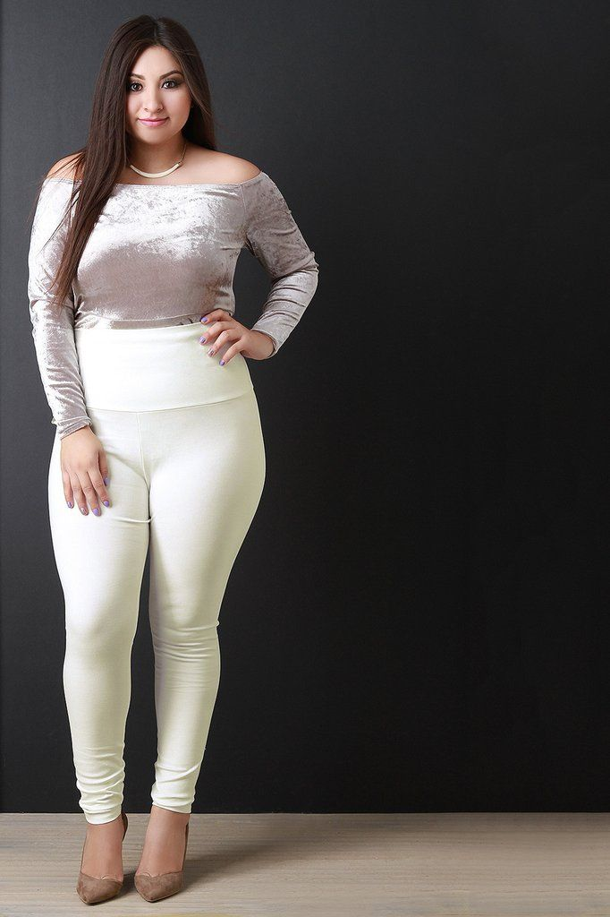 These Plus Size High Waisted Leggings Feature A Stretchy Solid Knit
