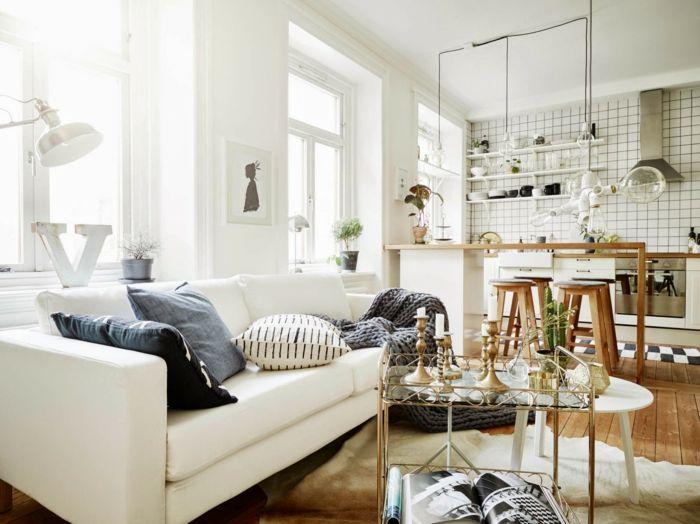 1001 ideas sobre decoraci n de salones para espacios for Salones pequenos blancos