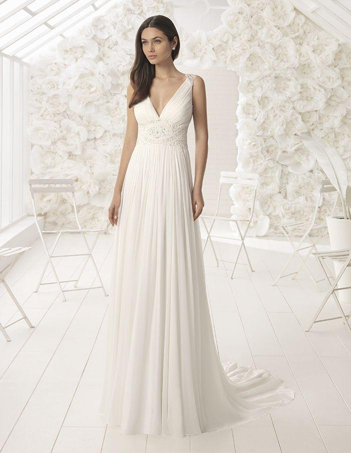 vestido de novia de rosa clará (lia), colección soft, corte en a