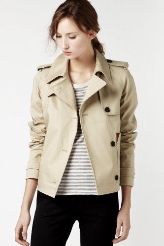 Cute light jacket! Lacoste Cropped Mack Trench Jacket With Leather ...